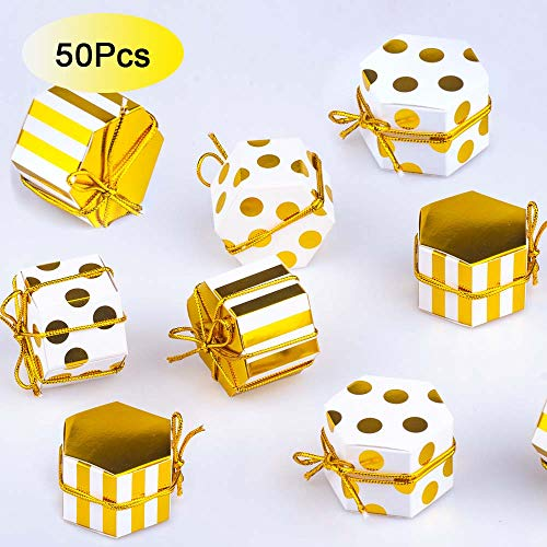 Aimto Gold and White Favor Boxes Treat Boxes Party Candy Boxes With Tags And Rope - 2