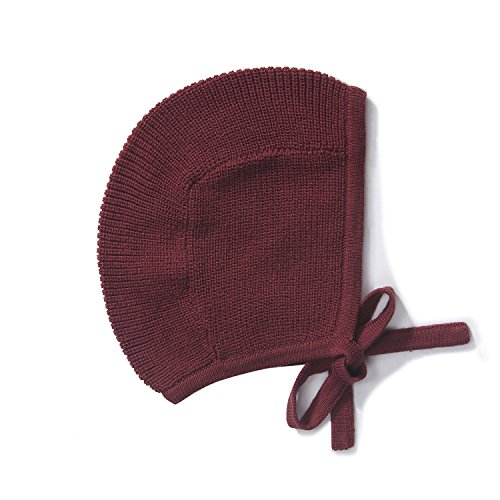 Baby Toddler 100% Cotton Knit Hat Bonnet Pilot Cap Red Burgundy Maroon