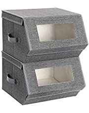 SONGMICS Set of 2 Storage Bins with Transparent Windows, Stackable Folding Boxes with Lid URPLB02G