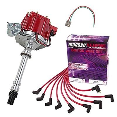 SBC BBC HEI Distributor and Red Spark Plug Wiring Kit: Automotive