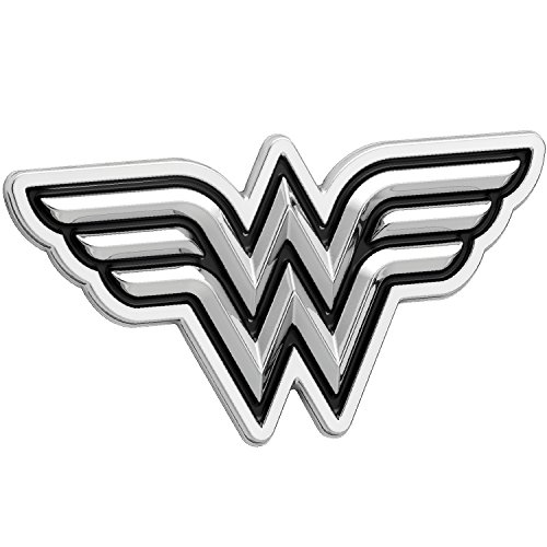 Fan Emblems Wonder Woman Logo 3D Car Emblem Black/Chrome, DC Comics Automotive Sticker Decal Badge Flexes to Fully Adhere to Cars, Trucks, Motorcycles, Laptops, Windows, Almost -