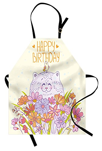 Ambesonne Birthday Apron, Adorable Happy Cat and Bird Meadow Flowers Bouquet Corsage Positive, Unisex Kitchen Bib Apron with Adjustable Neck for Cooking Baking Gardening, Pale Yellow Lilac Orange ()