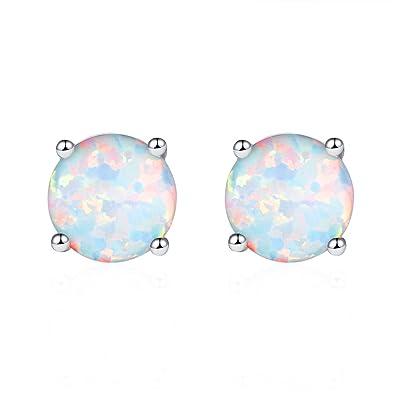 Mannli Sterling Silver Round Opal Birthstone Stud Earrings Jewelry for Women Girl White Blue Green Fire 8mm lH5J4YS