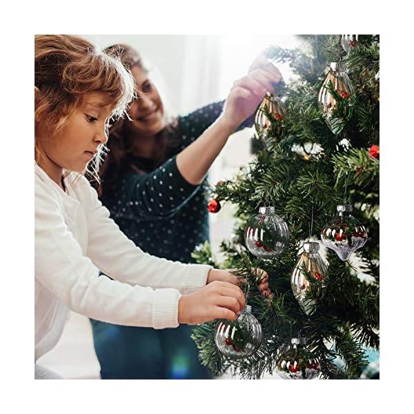 Palle di Natale Plastica (Set da 12) - Palline di Natale Trasparenti per Fai-da-Te con Filo, 3 Disegni x 4 Cad. per Decorazioni Natalizie, Addobbi per Feste di Compleanno, Addobbi Natalizi per Albero 7 spesavip