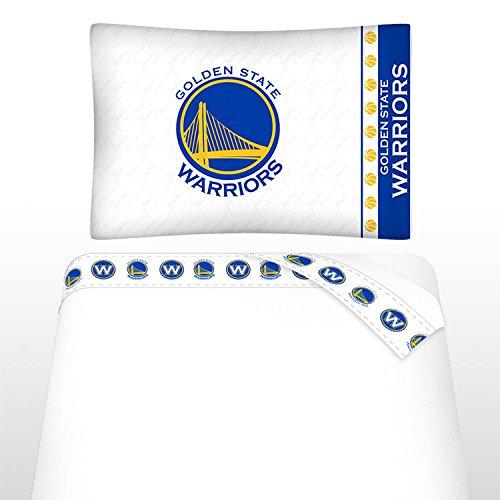 NBA Golden State Warriors Micro Fiber Sheet Set, Twin, White