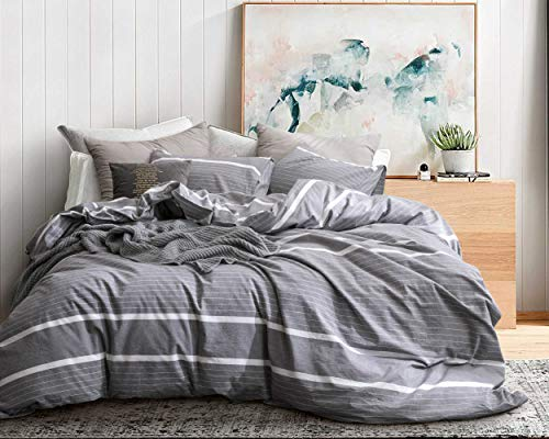 ECOCOTT 3 Pieces Duvet Cover Set Queen 100% Washed Cotton 1 Duvet Cover with Zipper and 2 Pillowcases, Ultra Soft and Easy Care Breathable Cozy Simple Style Bedding Set(Grey with White Stripes)