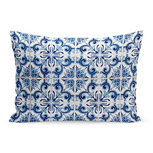 Semtomn Throw Pillow Covers Pattern Closeup Detail of Old Portuguese Glazed Tiles Vintage Pottery Pillow Case Cushion Cover Lumbar Pillowcase Decoration for Couch Sofa Bedding Car 20 x 36 inchs ()