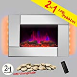 AKDY 36'' Wall Mount Type Tempered Glass 2 Setting Adjustable 1500W LED Backlight 2-in-1 Log & Pebble Interchangeable Electric Fireplace Heater Stove (Mirror)