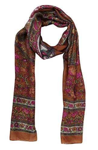 Pure and x Floral Fashion Brown Pink 70 Scarf Printed Silk Rectangle Wrap Inches 20 Women rBfw4rnO