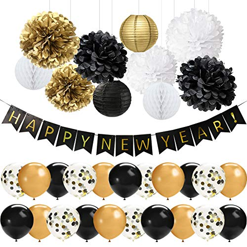 41 PCS Black Gold Happy New Year Decorations Set Happy New Year Banner 12 Inch Latex Balloons Tissue Pom Poms Flowers Paper Lanterns for New Years Eve Party Decorations 2019 New Year Party Supplies]()