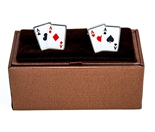 MRCUFF Aces 4 Four Playing Cards Poker Gambling Casino Pair Cufflinks in a Presentation Gift Box & Polishing Cloth Playing Cards Cufflinks Set