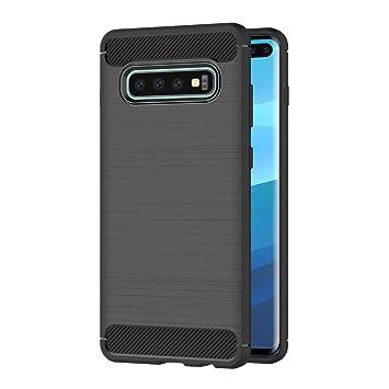 AICEK Funda Samsung Galaxy S10+, Negro Silicona Fundas para Samsung S10 Plus Carcasa Galaxy S10+ Fibra de Carbono Funda Case