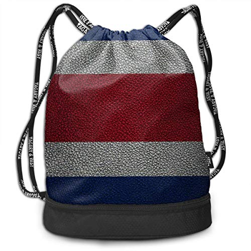 OHMYCOLOR Bundle Backpacks Costa Rica Flag Striped Leather Texture Gym Sack Womens Mens Drawstring Bags Casual Daypack Yoga Bag Training Pouch for Yoga Cycling Running Sports Hiking