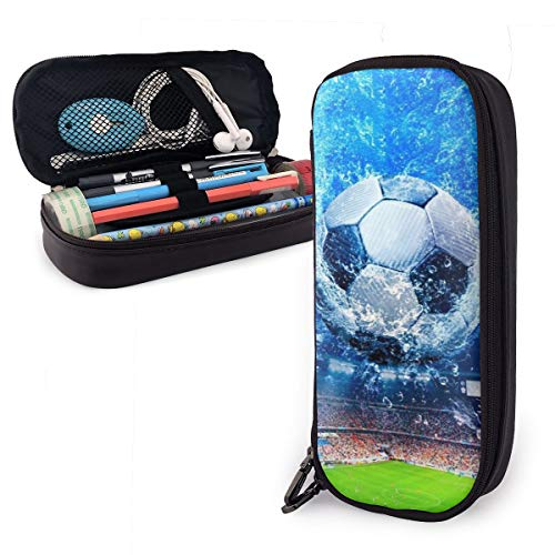 Leather Pencil Case, Soccer Field Football Field Pencil Pouch with Double Zippers for Middle High School Office College