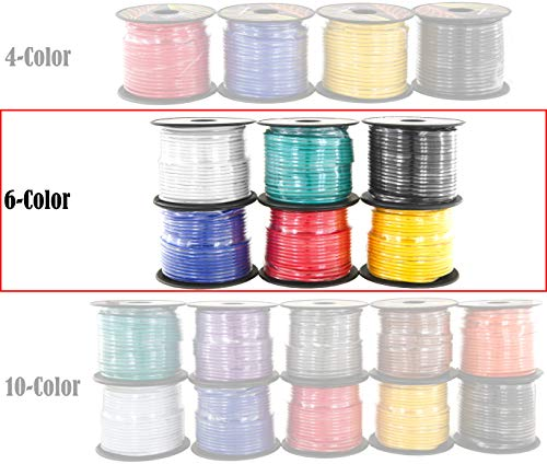 16 Gauge Primary Wire 6 Roll Color Combo Pack | 100 ft per Color (600 ft Total) CCA Cable for Amplifier Remote Trailer Harness LED Light Wiring (Also Available in: 4 & 10 Color Set)