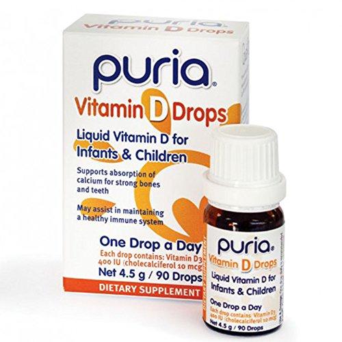 Puria Vitamin D Drops D3-1 Single Liquid Drop Per Day for Infants & Children Healthy Muscle Function, Supports Immune System Bone and Tooth Development 400IU Per Drop Cholecalciferol 10mcg 90 Drops