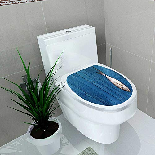 Bream Master - Bathroom Removable PVC raw Fish Hang on a Blue Wooden Fence gfish Gilthead sea Bream Vinyl Removable Bathroom W12 x L14