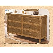 Santa Cruz 6 Drawer Wicker Dresser Antique Honey