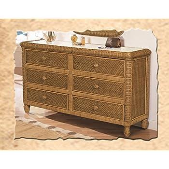 Santa Cruz 6 Drawer Wicker Dresser Antique Honey