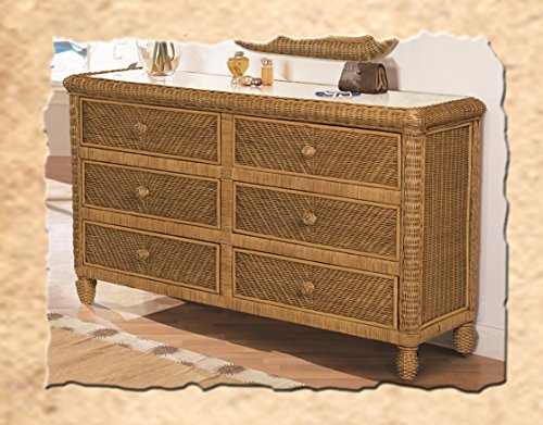 Santa Cruz 6 Drawer Wicker Dresser Antique (Dresser Honey)