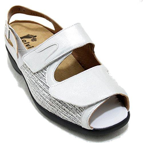 Alviflex 7941 - Sandalias blancas de piel y licra con platilla extraible Blanco