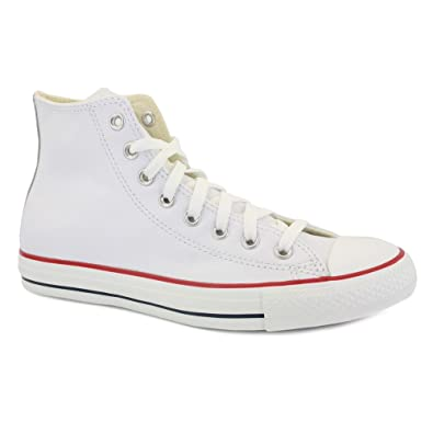 Converse All Star Leather 132169C Unisex Laced Leather Trainers White - 9