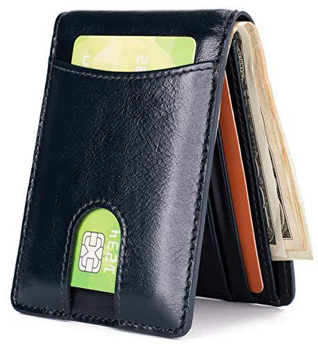Mens Leather Wallet Slim Front Pocket Wallet Billfold ID Window RFID Blocking - Dark Blue