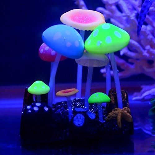 Uniclife Glowing Effect Artificial Mushroom Aquarium Plant Decor Ornament Decoration for Fish Tank Landscape ()