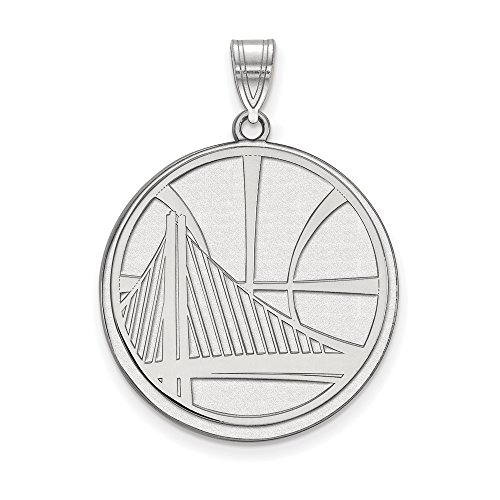 NBA Golden State Warriors Xlarge Logo Pendant in Rhodium Plated Sterling Silver by LogoArt