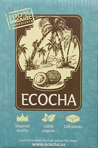 Ecocha Coconut Hookah Charcoal - 100% Organic Coco Coal - 108 Pieces
