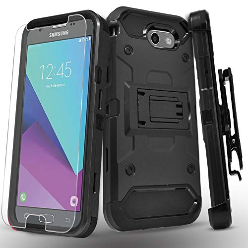 Galaxy J7 Sky Pro Case, Galaxy J7 V Case, Galaxy J7 Perx, Galaxy Halo, Galaxy J7 Prime Case, with [Tempered Glass Screen Protector] Heavy Duty Kickstand and Locking Belt Clip Phone Cover -Tank Black