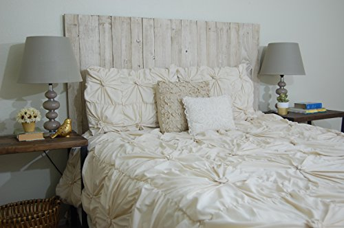 - Whitewash Weathered Look - Full Size Hanger Handcrafted Headboard. Mounts on Wall. Easy Installation.