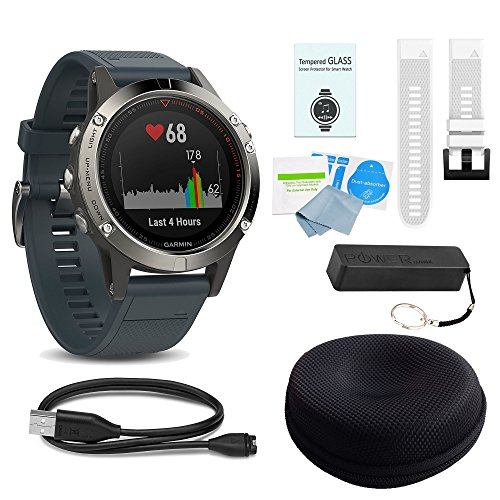 (WhoIsCamera Garmin Fenix 5 Silver w/Granite Blue Band - Includes Additional Quick Fit Band | Screen Protectors | & More Accessories)