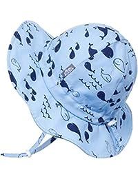 JAN & JUL Toddler Boys Girls Cotton Sun Hats 50 UPF, Drawstring Adjustable, Stay-on Tie (M: 6-24m, Whale)