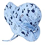 Kids Foldable Summer Sun-Hat 50 UPF, Drawstring Adjustable, Stay-on Chin Strap (L: 2-5Y, Whale)