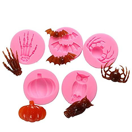 CAOLATOR Fl/üssige Silikonform Backf/örmchen Halloween Reihe Schokolade Fondant Kekse Kuchen Dekorieren Backform DIY Backwerkzeuge Eule