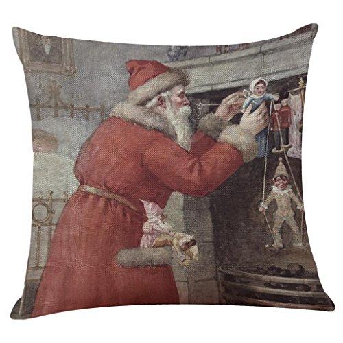 "Price comparison product image Sothread Christmas Throw PillowCase Decor Sofa Cushion Cover Santa Claus 18""x18"" (I5)"