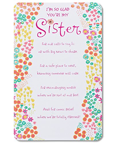 American Greetings Glad You're My Sister Birthday Card for Sister with Foil