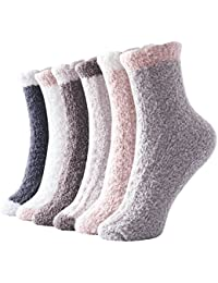 Women Girls Premium Super Soft Toasty Plush Warm Fuzzy Microfiber Winter Socks Crew 6 Pairs