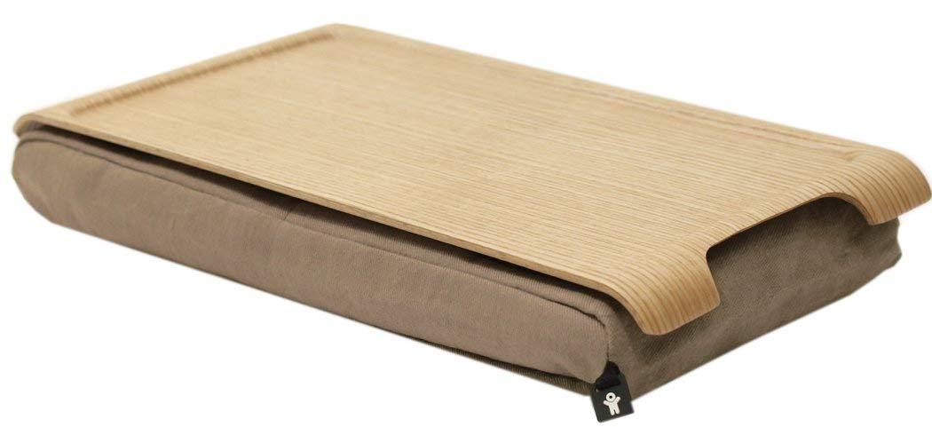 Bosign Anti-Slip Lacquered Wood Adjustable Cushion Mini Laptray, Natural