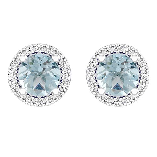 Dazzlingrock Collection 14K Round Aquamarine & White Diamond Ladies Halo Style Stud Earrings 2 CT, White Gold ()