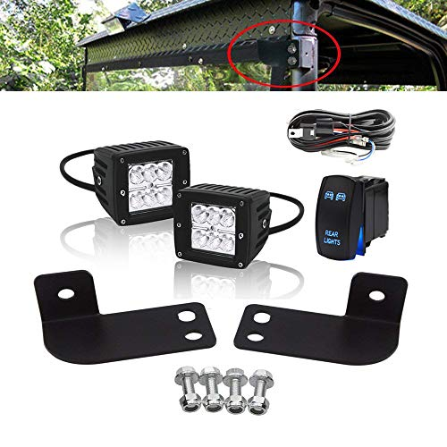 DaSen 3 Inch 18W Backup Reverse LED Light w/Wiring kit+Rear Roll Cage Spotlight Mount Bracket Fit Polaris Ranger full size ()
