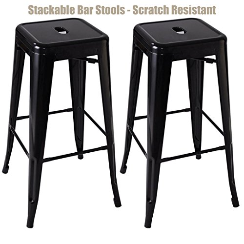 Classic Vintage Style Office Dining Room Chair Stackable Backless Solid Metal Seat Indoor Outdoor Counter Bar - Stool set of 2 Stool/ Black - Code Co And Discount Ivory