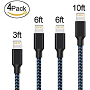 Lightning Cable,AOFU iphone Cable 4Pcks 3FT 6FT 6FT 10FT to USB Syncing and Charging Cable Data Nylon Braided Cord Charger for iPhone 7/7 Plus/6/6 Plus/6s/6s Plus/5/5s/5c/SE and more (Black&Blue)