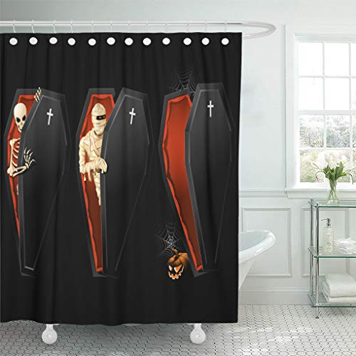 Emvency Decorative Shower Curtain Red Mummy Halloween with