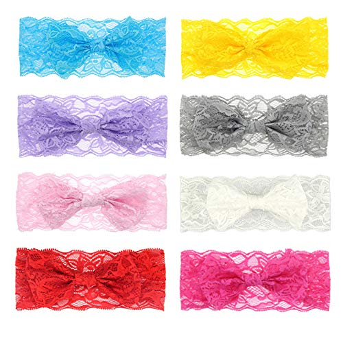 Zapire 8pcs Lace Bows Baby Headbands for Baby Girl Headbands Hair Accessories - Soft Elastic Flower Bows Hair Band