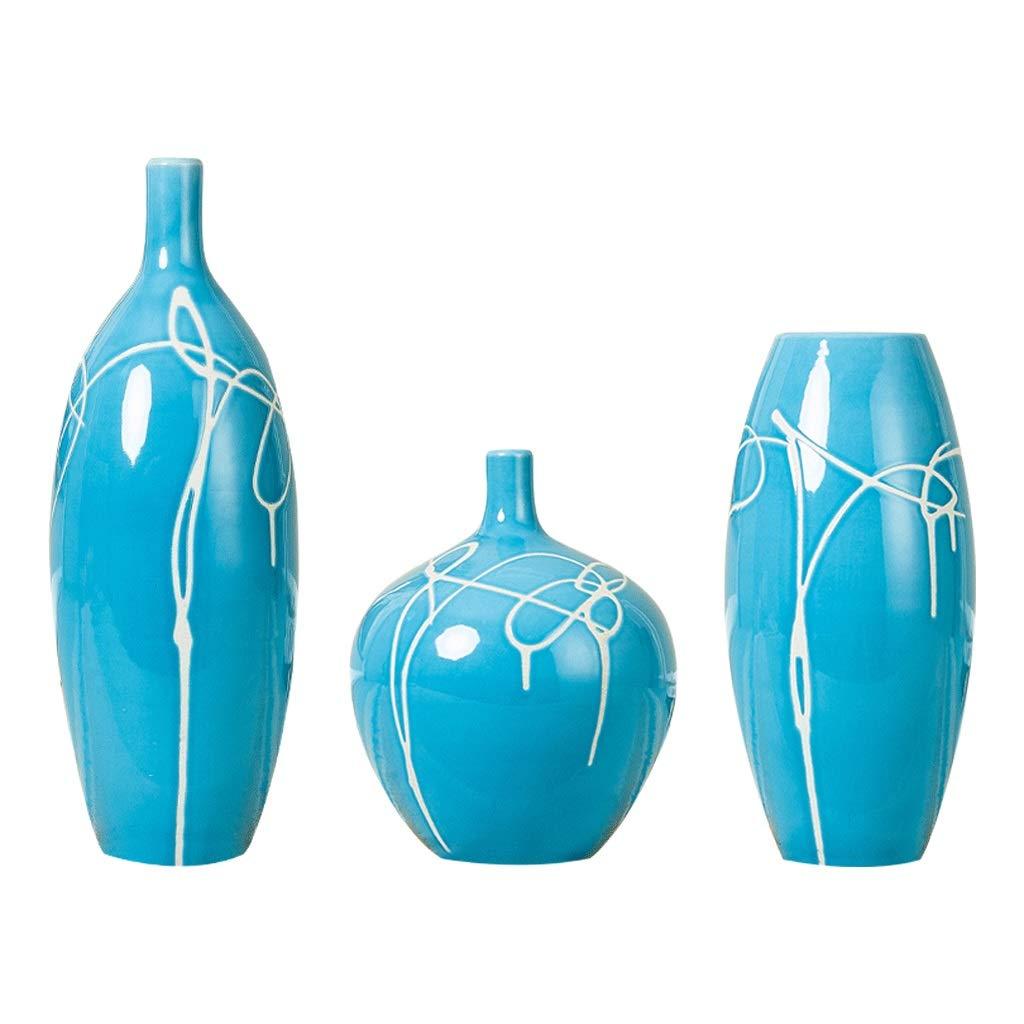 テーブルトップセラミック花瓶 - ブルーアート花瓶セットホームデコレーションモダンシンプルリビングルームセラミック工芸品装飾フロア花瓶 B07S8WHCPX