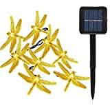 LAFEINA Solar String Lights Dragonfly, 19.7ft 6m 30 LED Waterproof Christmas Tree Lights Solar Powered Decorative Lighting for Outdoor, Tree, Fence, Garden, Patio, Lawn, Party (Warm White)