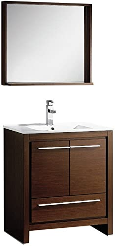 Fresca Bath FVN8130WG Allier 30 Vanity with Mirror, Wenge Brown