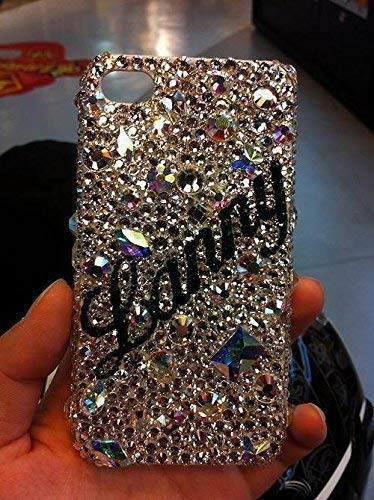 (Personalized Sparkle Cell Phone Case Initials Monogram Handmade Rhinestone Cell Phone Skins compatible with Phone Cases Sparkly)